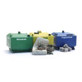 NL2020, Glasbak en papierbak set (2x glasbak, 1x papierbak e