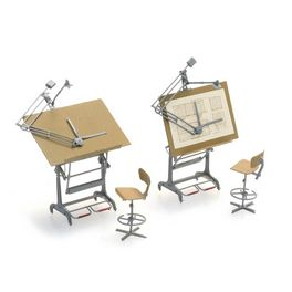 Set tekentafels met stoelen (2x)